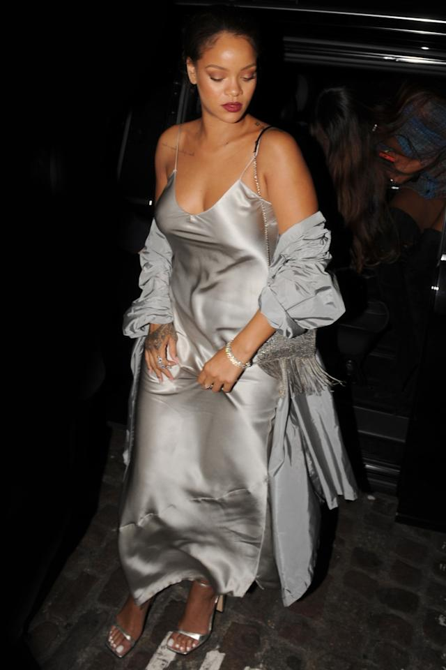 <p>In a silver slip by <span>Nili Lotan</span>, Prada jacket and matching metallic <span>Sergio Rossi</span> sandals out in London.  </p>