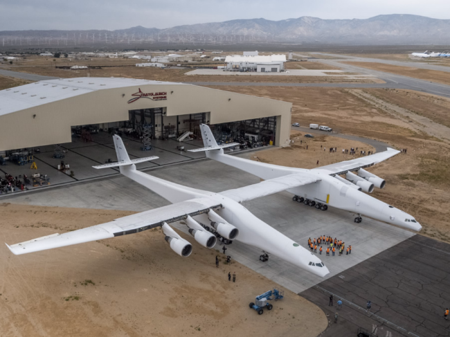 "<p>Like the An-225, the Stratolaunch plane is powered by six high-bypass-ratio turbofan engines.<br />Stratolaunch, owned by Microsoft cofounder Paul Allen, intends to use the aircraft to move forward with its vision to ""provide convenient, reliable, and routine access to low-Earth orbit."" </p>"