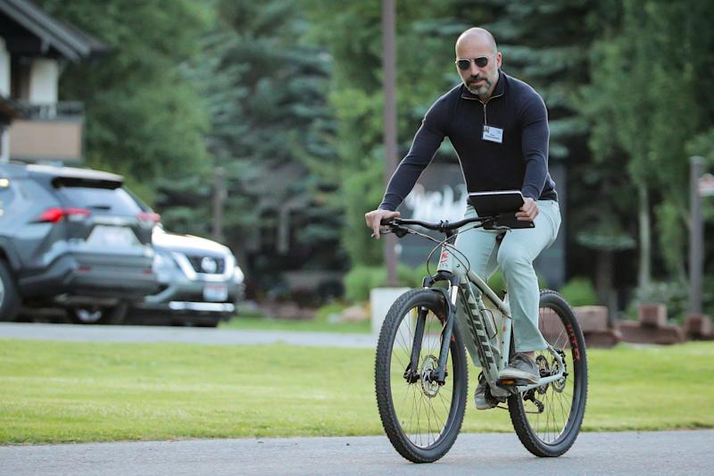 Dara Khosrowshahi, CEO of Uber Technologies Inc., attends the annual Allen and Co. Sun Valley media conference in Sun Valley, Idaho, U.S., July 11, 2019. REUTERS/Brendan McDermid