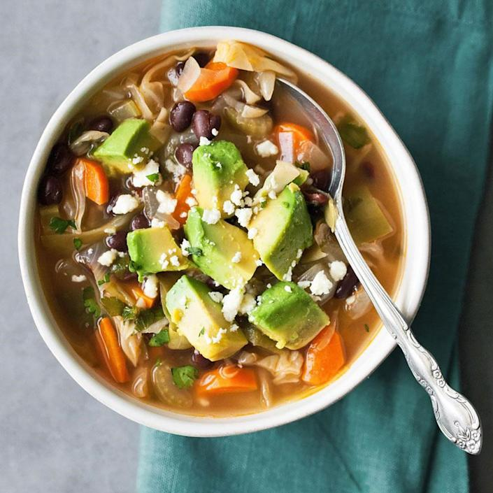 <p>Based on a popular weight-loss plan, this healthy cabbage soup recipe gets tons of flavor and a metabolism-boosting kick from spicy chiles.</p>