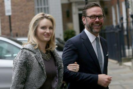 James Murdoch, the son of media mogul Rupert Murdoch, and his wife Kathryn Hufschmid arrive for a reception to celebrate the wedding between Rupert Murdoch and former supermodel Jerry Hall which took place on Friday, in London