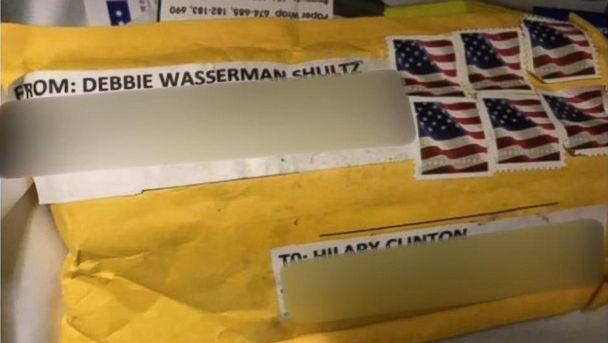 PHOTO: The package containing a explosive device addressed to Hillary Clinton's home in Chappaqua, N.Y., on Oct. 24, 2018. (obtained by ABC News)