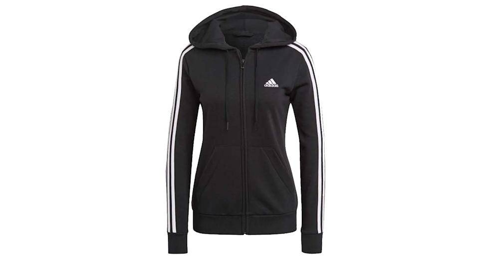 Essentials French Terry 3 Stripes Full-Zip Hoodie