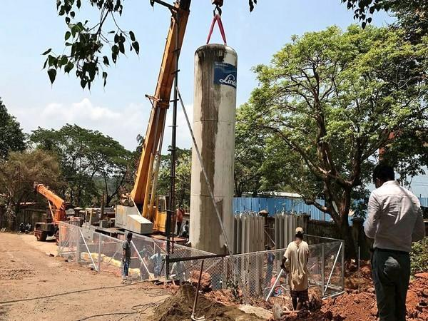Medical Oxygen tank being installed at Goa Medical College and Hospital in Panaji on Friday.