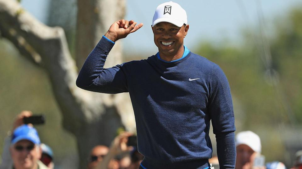 Tiger Woods reacts to his birdie putt on the seventh hole during the first round at the Arnold Palmer Invitational on Mar. 15, 2018. (AFP)