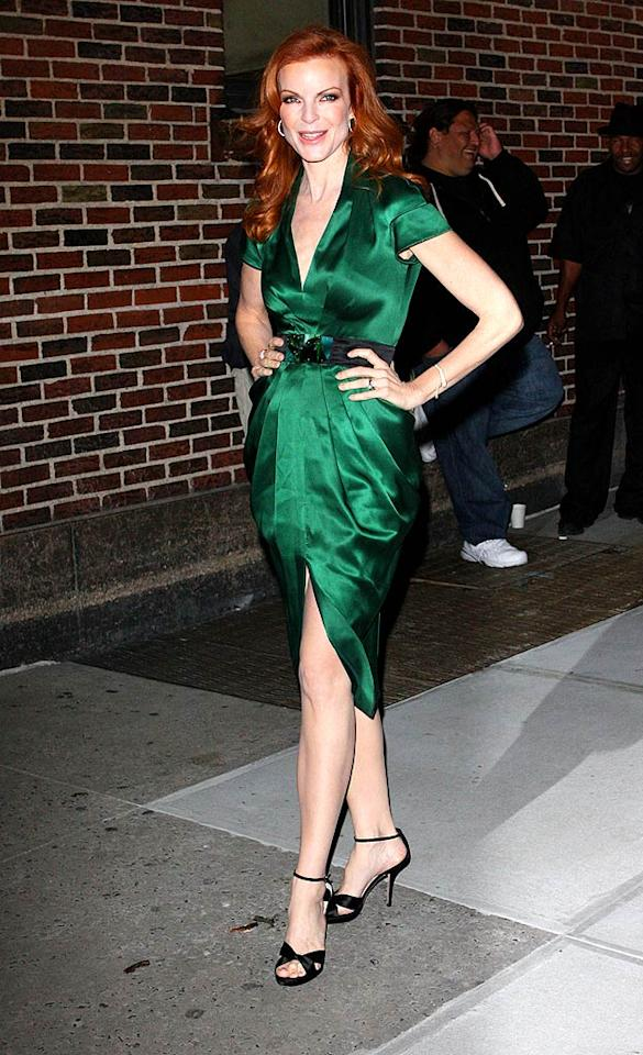 "Marcia Cross hit the mark yet again in an emerald Catherine Malandrino masterpiece, which perfectly accentuated her porcelain skin and signature head of red, while visiting ""Late Show With David Letterman."" Richie Buxo/<a href=""http://www.splashnewsonline.com"" target=""new"">Splash News</a> - October 27, 2008"
