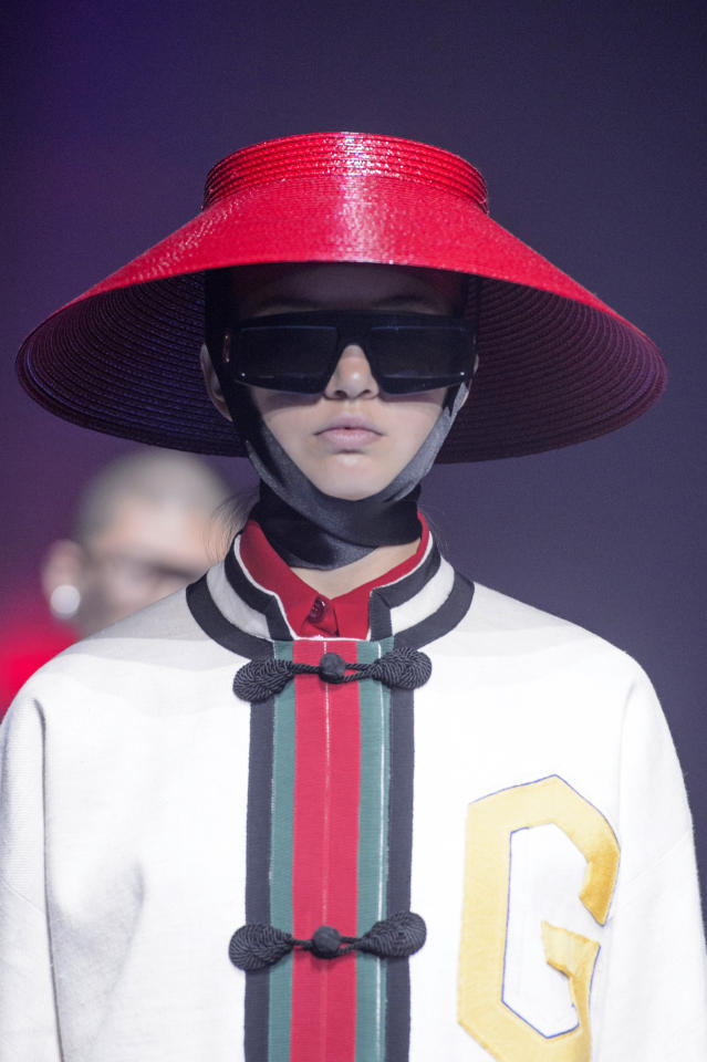 <p><i>Hat inspired by the Asian conicals from the SS18 Gucci collection. (Photo: ImaxTree) </i></p>