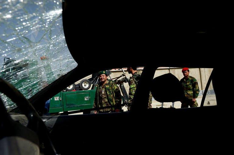 A smashed windscreen pictured at the site of a suicide attack in Kabul on March 9, 2013. The attack killed nine people outside the defence ministry during a visit to the Afghan capital by new US Defense Secretary Chuck Hagel