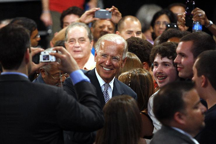 Vice President Joe Biden greets supporters Monday, Aug. 13, 2012, during a rally at the Durham Armory in Durham, N.C. (AP Photo/The News & Observer, Travis Long) MANDATORY CREDIT