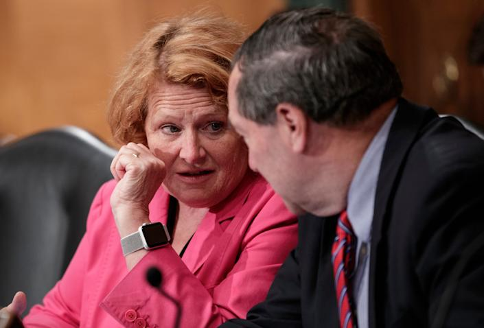 In this Aug. 21, 2018 file photo, Sen. Heidi Heitkamp, D-N.D., left, and Sen. Joe Donnelly, D-Ind., speak on Capitol Hill in Washington. Both senators are from states President Trump won in 2016 and are being targeted to support Judge Brett Kavanaugh for the Supreme Court.