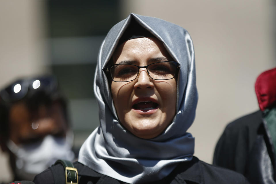 FILE - In this July 3, 2020, file photo, Hatice Cengiz, the fiancee of slain Saudi journalist Jamal Khashoggi, talks to members of the media in Istanbul. Amnesty International reported that its forensic researchers had determined that NSO Group's flagship Pegasus spyware was successfully installed on the phone of Cengiz, just four days after Khashoggi was killed. (AP Photo/Emrah Gurel, File)