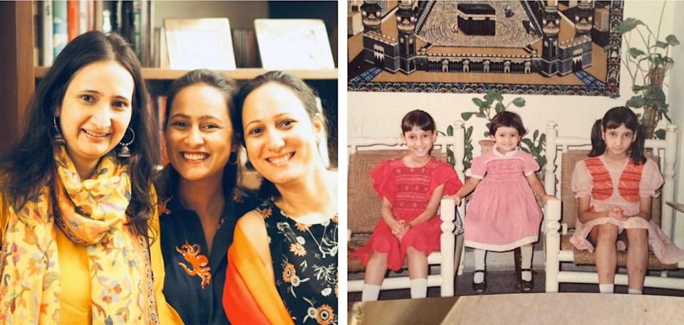 Images: Images of Dr. Farah Husain with her sisters, present day and from their childhood. (Courtesy: Fatima Husain)