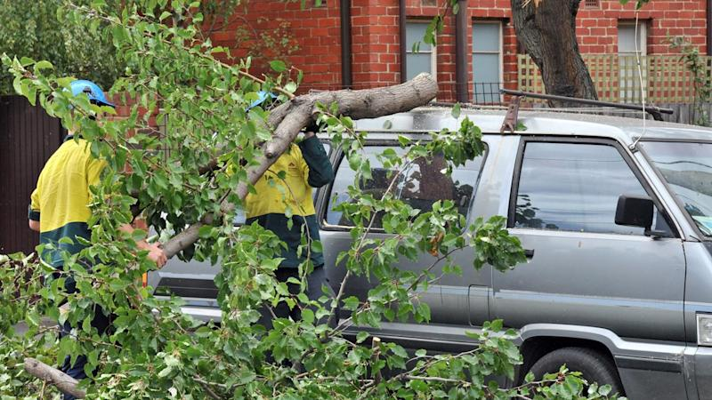 Much of Melbourne is battling strong winds up to 90km/h, with hundreds of people calling for help.