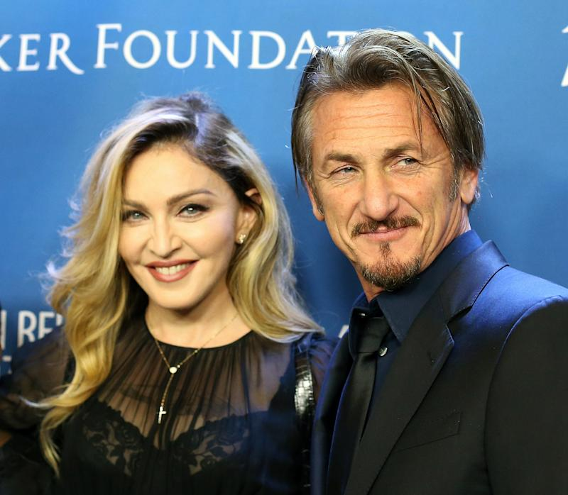 """Madonna (L) and Sean Penn arrive at the 5th Annual Sean Penn & Friends """"HELP HAITI HOME"""" gala benefiting J/P Haitian Relief Organization held at Montage Hotel on January 9, 2016 in Beverly Hills, California."""