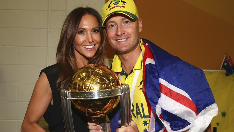 Michael and Kyly Clarke, pictured here celebrating Australia's victory at the 2015 Cricket World Cup.