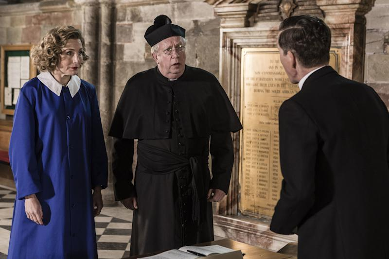 Picture shows_Lady Felicia (NANCY CARROLL), Father Brown (MARK WILLIAMS), Canon Fox (ROGER MAY)