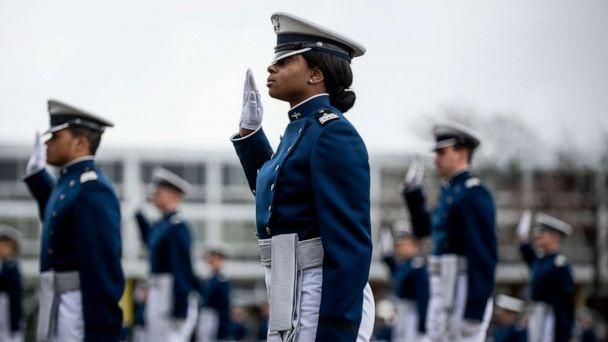 PHOTO: In this April 18, 2020, file photo, Air Force Academy cadets take an oath during their graduation ceremony in Colorado Springs, Colo. (Michael Ciaglo/Getty Images, FILE)