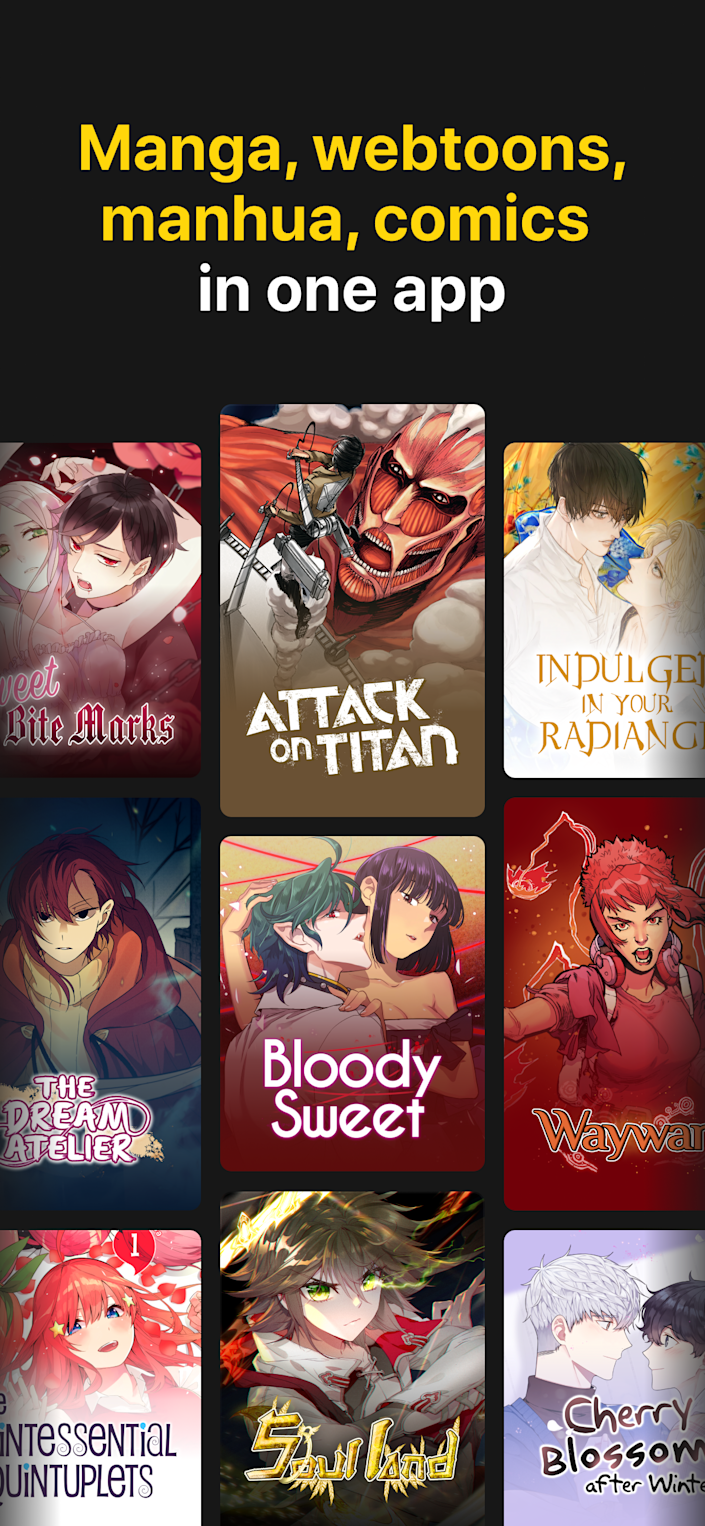 A screenshot with some of the titles on digital comics platform INKR