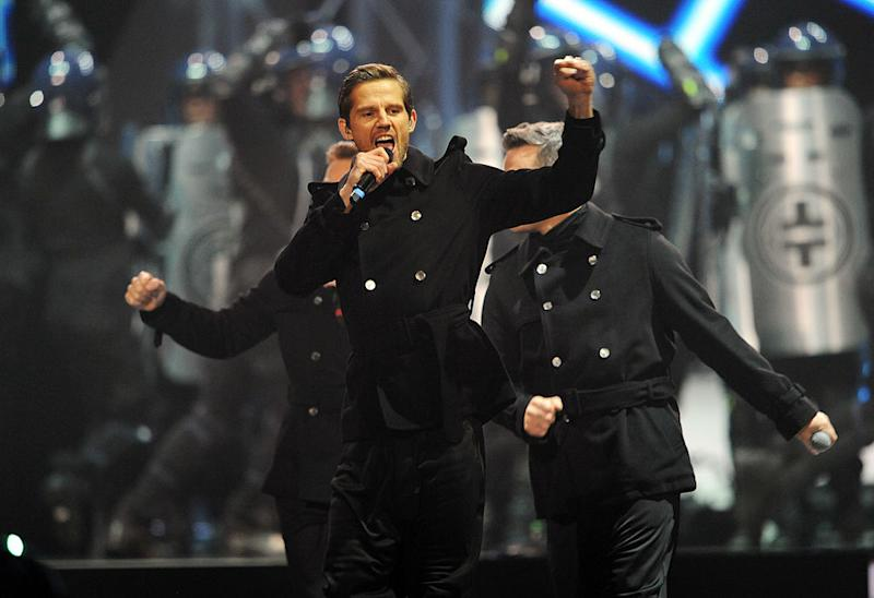 (EMBARGOED FOR PUBLICATION IN UK TABLOID NEWSPAPERS UNTIL 48 HOURS AFTER CREATE DATE AND TIME. MANDATORY CREDIT PHOTO BY DAVE M. BENETT/GETTY IMAGES REQUIRED) XXX performs on stage during The BRIT Awards 2011 at the O2 Arena on February 15, 2011 in London, England.