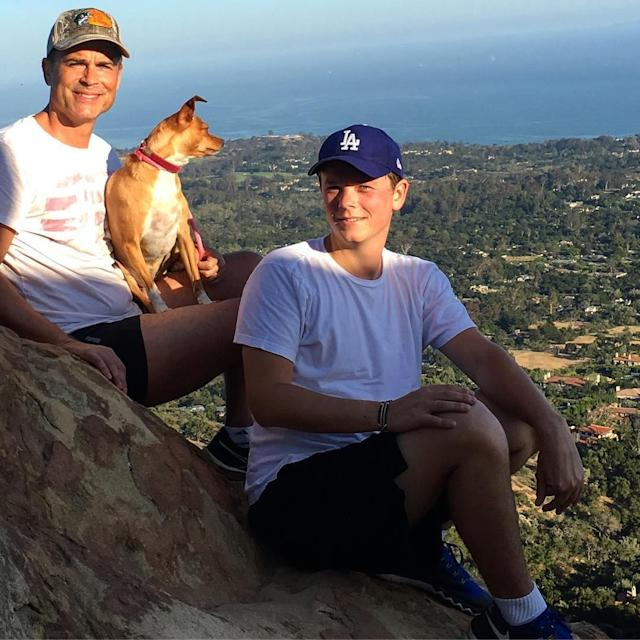"<p>The charming actor spent part of the weekend keeping active while enjoying some quality family time on a ""#sunset hike with my boy and his girl, Bella. PC @tribullchristina."" (Photo: <a href=""https://www.instagram.com/p/BUqSAgEhfZy/"" rel=""nofollow noopener"" target=""_blank"" data-ylk=""slk:Rob Lowe via Instagram"" class=""link rapid-noclick-resp"">Rob Lowe via Instagram</a>) </p>"