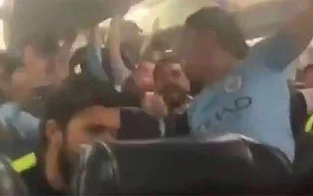 Manchester City players sing an altered version of
