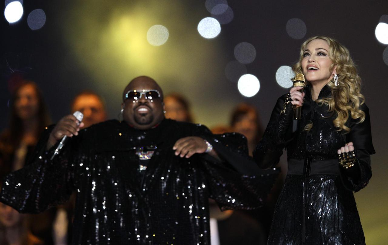 Madonna, right, and Cee Lo Green perform during halftime of the NFL Super Bowl XLVI football game between the New England Patriots and the New York Giants, Sunday, Feb. 5, 2012, in Indianapolis. (AP Photo/David J. Phillip)