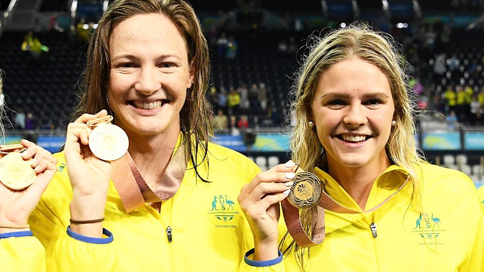 Cate Campbell and Shayna Jack, pictured here at the 2018 Commonwealth Games on the Gold Coast.