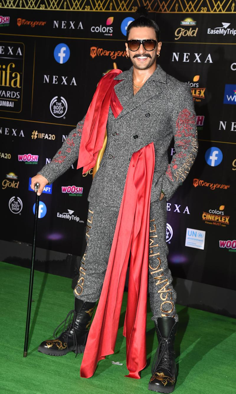Ranveer Singh in a suit by Moschino at the 2019 IIFA Awards in Mumbai. He won best actor in a leading role (male) for <i>Padmaavat</i>. (Photo: SUJIT JAISWAL via Getty Images)