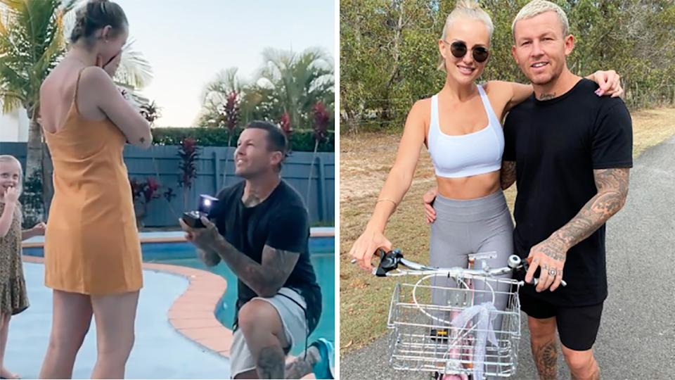 Former NRL player Todd Carney proposed to his partner Susie Bradley on New Year's Eve. Pictures: Instagram