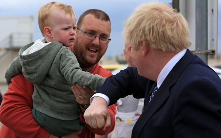 Some of the people Boris Johnson met in Hartlepool yesterday were more enthusiastic than others - LINDSEY PARNABY/AFP/Getty