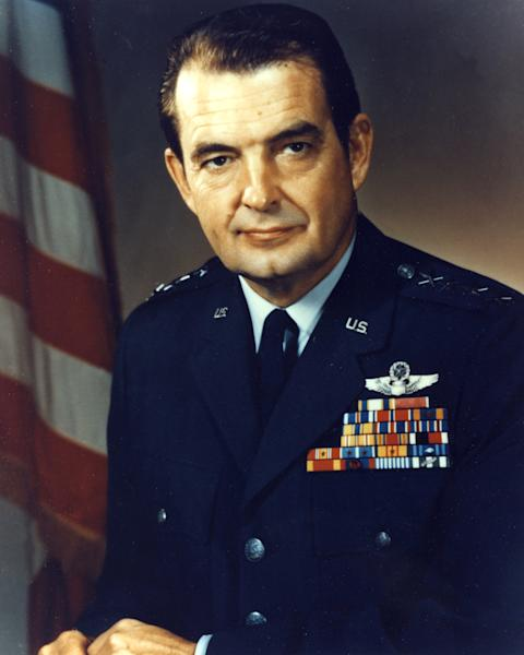This undated image provided by the U.S. Air Force shows General David C. Jones chairman of the Joint Chiefs of Staff. Jones, a retired Air Force general who helped set in motion a far-reaching reorganization of the U.S. military command while serving as chairman of the Joint Chiefs of Staff, has died at 92. The general's son, David Curtis Jones, said Wednesday that his father died Saturday at a military retirement community in Potomac Falls, Va. He had Parkinson's disease. (AP Photo/U.S. Air Force)