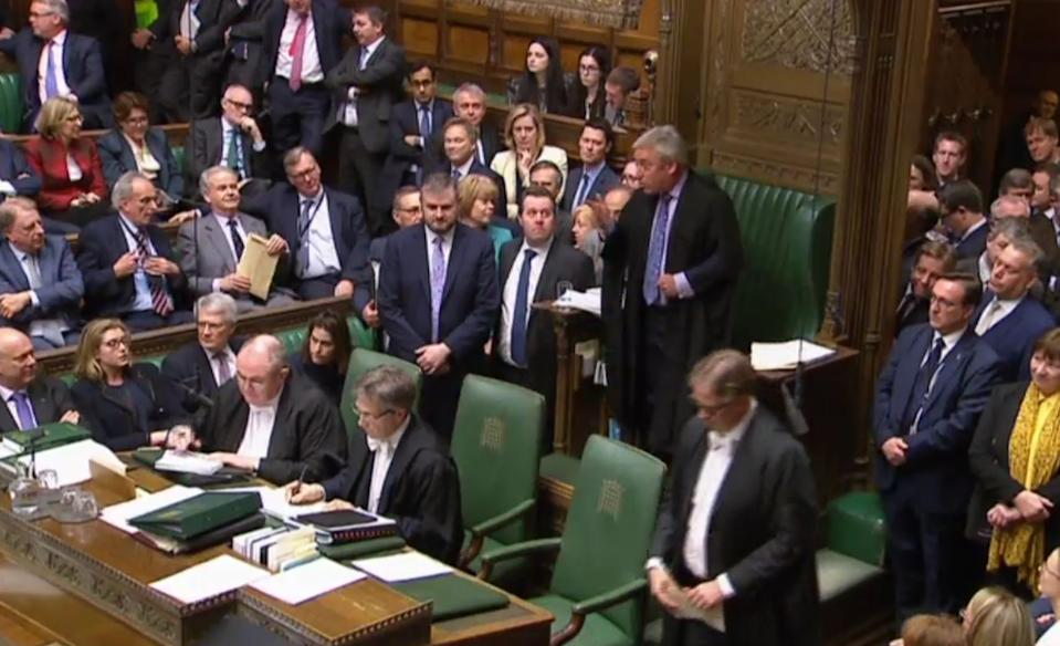 Speaker John Bercow explains to the house the last time the Speaker of the House used their casting vote after MPs delivered a first tie in a Commons vote since 1993 as a proposal to allow a third round of indicative votes on Brexit alternatives was rejected. They voted by 310 to 310 on Labour MP Hilary Benn's amendment, with Speaker John Bercow casting his vote, in line with precedent, with the noes. This meant Mr Benn's amendment was defeated by 311 votes to 310, majority one.