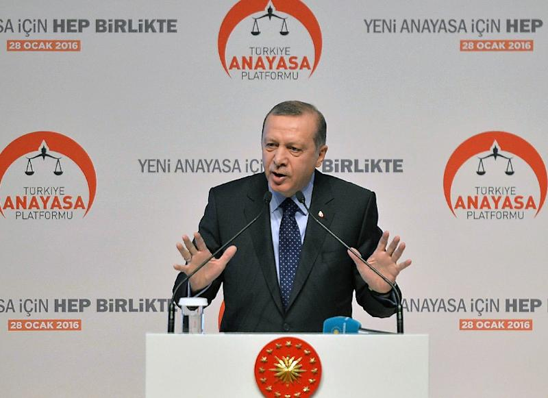 """President Recep Tayyip Erdogan, seen in Ankara on January 28, 2016, warns that Russia would """"have to face consequences if it keeps up such violations"""" after the Turkish foreign ministry said a Russian Su-34 plane violated Turkish airspace"""