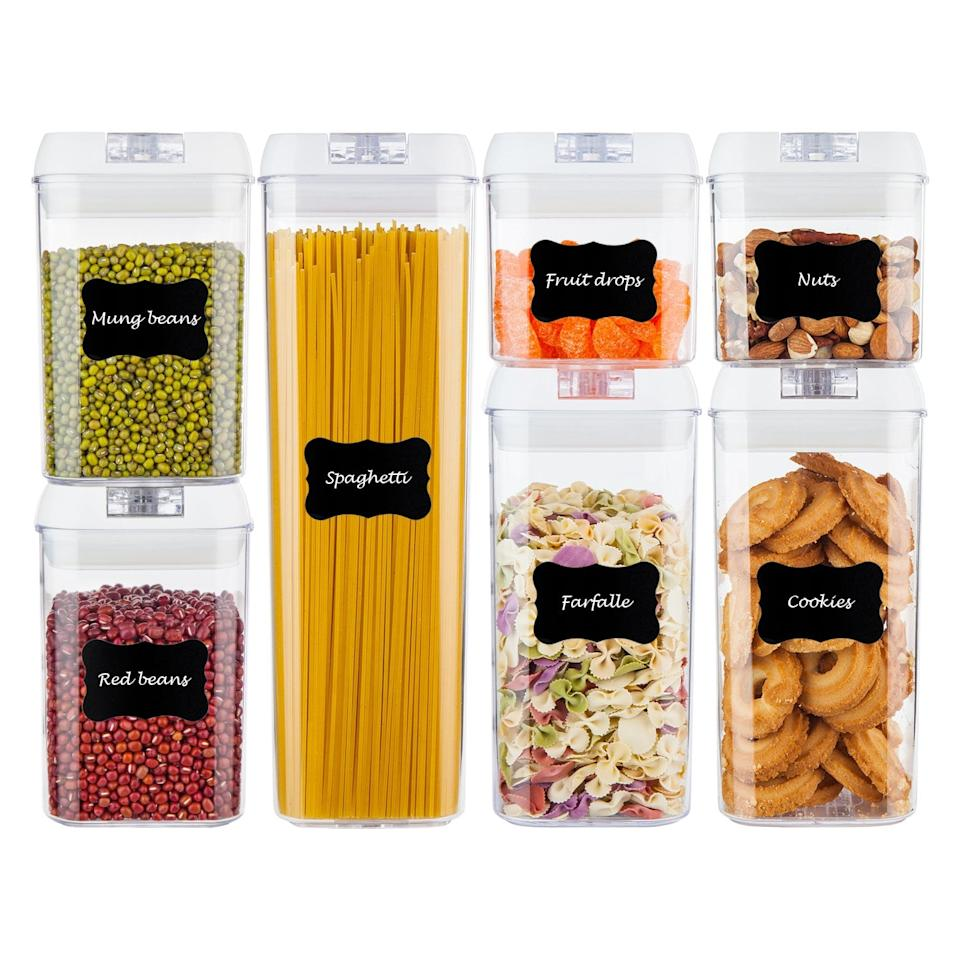 """<p>These <a href=""""https://www.popsugar.com/buy/Airtight-Food-Storage-Containers-408157?p_name=Airtight%20Food%20Storage%20Containers&retailer=amazon.com&pid=408157&price=30&evar1=casa%3Aus&evar9=46998883&evar98=https%3A%2F%2Fwww.popsugar.com%2Fhome%2Fphoto-gallery%2F46998883%2Fimage%2F46998987%2FAirtight-Food-Storage-Containers&list1=shopping%2Camazon%2Cfurniture%2Chome%20shopping&prop13=api&pdata=1"""" rel=""""nofollow"""" data-shoppable-link=""""1"""" target=""""_blank"""" class=""""ga-track"""" data-ga-category=""""Related"""" data-ga-label=""""https://www.amazon.com/Airtight-Containers-Vtopmart-Organization-Chalkboard/dp/B07C79SGBC/ref=sr_1_28?s=kitchen&amp;ie=UTF8&amp;qid=1548446945&amp;sr=1-28&amp;keywords=kitchen+organization+and+storage"""" data-ga-action=""""In-Line Links"""">Airtight Food Storage Containers</a> ($30) are so satisfying to look at.</p>"""