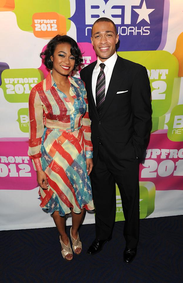 """Tatyana Ali (""""Second Generation Wayans"""") and T.J. Holmes (""""Don't Sleep with T.J. Holmes"""") attend BET's 2012 Upfront event at the Best Buy Theater on April 18, 2012 in New York City."""