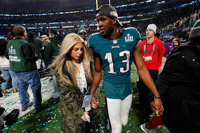 <p>Nelson Agholor #13 of the Philadelphia Eagles celebrates with girlfriend Viviana Volpicelli after his teams 41-33 win over the New England Patriots in Super Bowl LII at U.S. Bank Stadium on February 4, 2018 in Minneapolis, Minnesota. The Philadelphia Eagles defeated the New England Patriots 41-33. (Photo by Kevin C. Cox/Getty Images) </p>