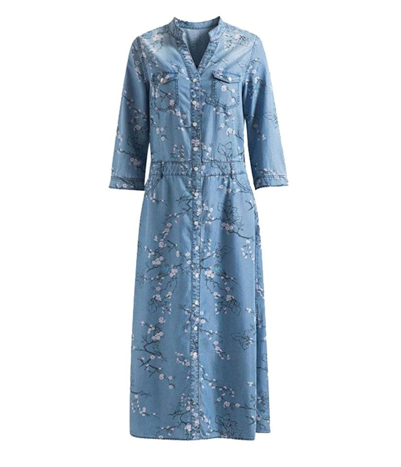 """<p>$148, <a href=""""http://genuine-people.com/products/button-down-floral-denim-dress?variant=18259645381"""">genuine-people.com</a><br /><br /></p>"""