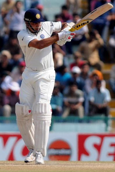 MOHALI, INDIA - OCTOBER 05:  Indian Cricketer VVS Laxman bats during day five of the First Test match between India and Australia at Punjab Cricket Association Stadium on October 5, 2010 in Mohali, India.  (Photo by Pal Pillai/Getty Images)