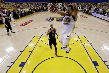 May 31, 2018; Oakland, CA, USA; Golden State Warriors guard Shaun Livingston (34) dunks the ball against Cleveland Cavaliers guard George Hill (3) in game one of the 2018 NBA Finals at Oracle Arena. Mandatory Credit: Marcio Jose Sanchez/pool photo via USA TODAY Sports