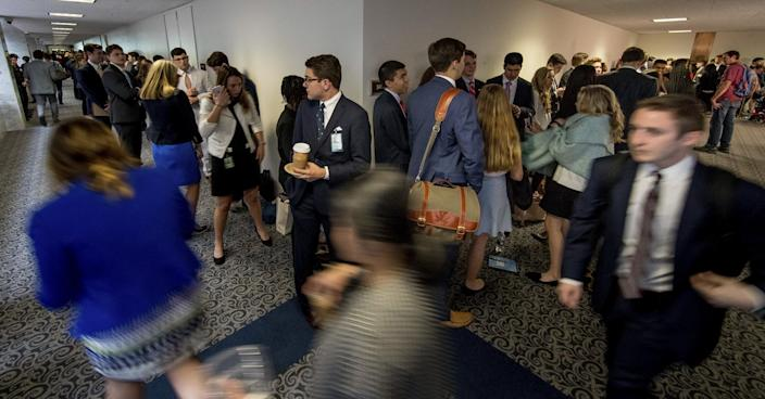 <p>An enormous line stretches down the hall outside the room where Former FBI Director James Comey will testify before a Senate Intelligence Committee hearing on Capitol Hill, Thursday, June 8, 2017, in Washington. (Photo: Andrew Harnik/AP) </p>