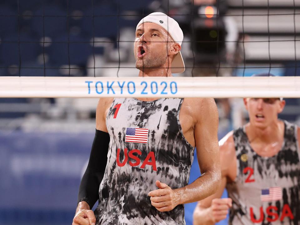 beach volleyball player jake gib playing in the tokyo 2020 olympics