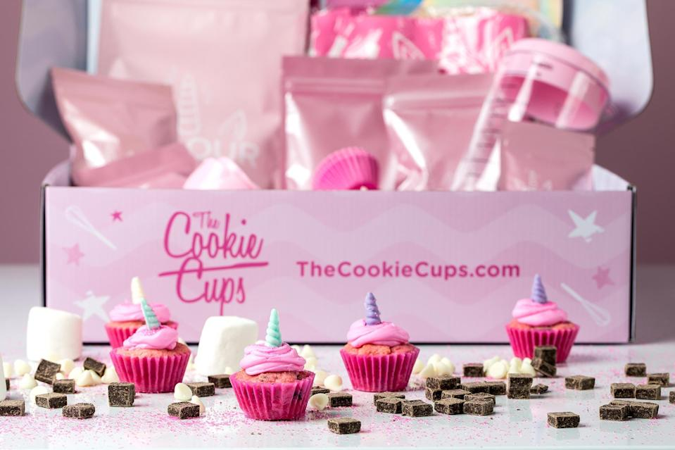 """<p>This adorable <a href=""""https://www.thecookiecups.com/products/unicorn-cookie-cup-baking-kit"""" rel=""""nofollow noopener"""" target=""""_blank"""" data-ylk=""""slk:cookie cup-making kit"""" class=""""link rapid-noclick-resp"""">cookie cup-making kit</a> is perfect for the kiddos. Not only is it tons of delicious and age-appropriate fun, but it comes with all of the (reusable) tools you will need — even the measuring cups!</p> <p><strong>$49.99, <a href=""""https://www.thecookiecups.com/products/unicorn-cookie-cup-baking-kit"""" rel=""""nofollow noopener"""" target=""""_blank"""" data-ylk=""""slk:thecookiecups.com"""" class=""""link rapid-noclick-resp"""">thecookiecups.com</a></strong></p> <p><strong>*Get 20% off automatically at checkout through Valentines Day (2/14/21)</strong></p>"""