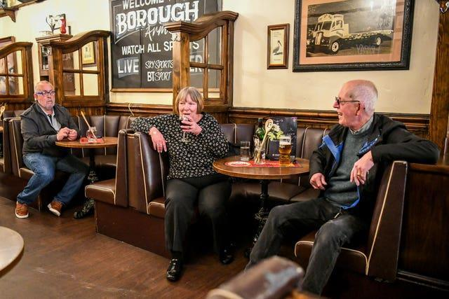 Customers at The Borough pub in Cardiff