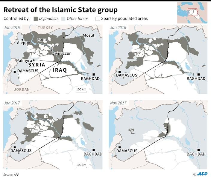 Maps of Syria and Iraq showing changes in the territory controlled by the Islamic State group since 2015 (AFP Photo/Simon MALFATTO)