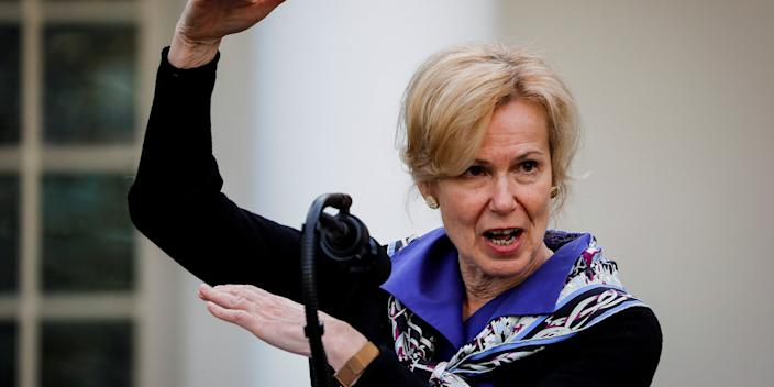 "White House Coronavirus response coordinator Dr. Deborah Birx speaks during a news conference in the Rose Garden of the White House <p class=""copyright"">Reuters</p>"