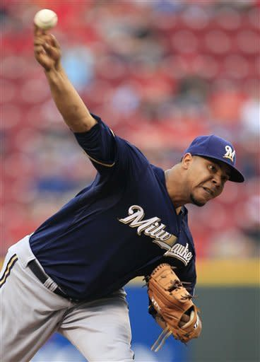Milwaukee Brewers starter Wily Peralta throws against the Cincinnati Reds in the first inning of a baseball game, Thursday, Sept. 27, 2012, in Cincinnati. (AP Photo/Al Behrman)