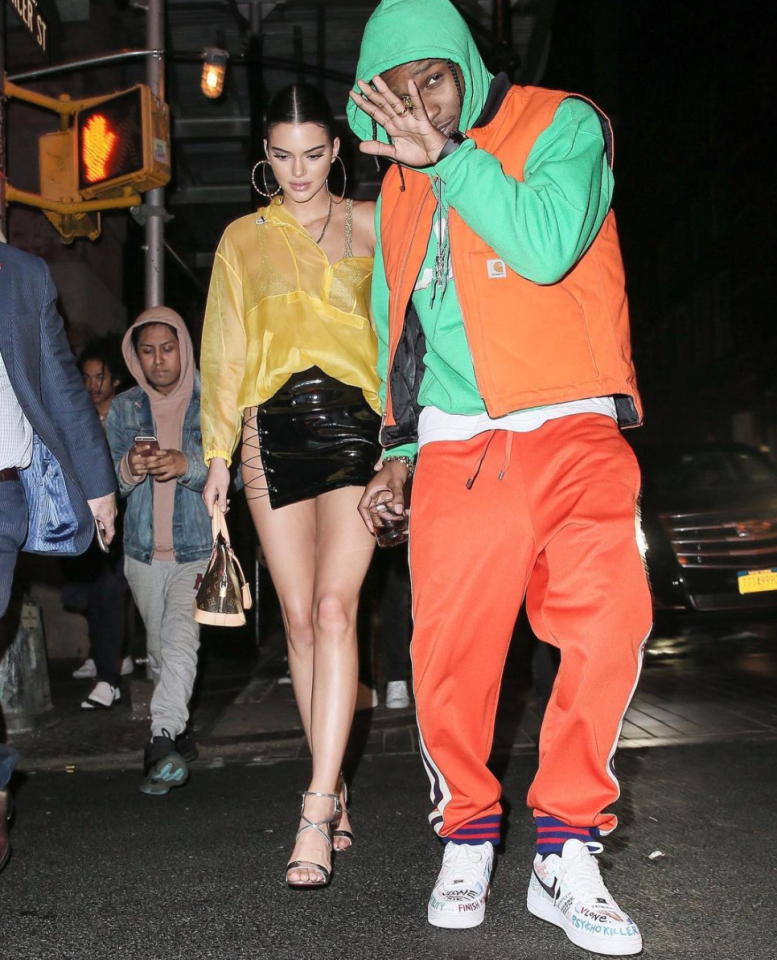 <p>Kendall effectively wore a vinyl loincloth while A$AP changed into a bright tracksuit.<br /><i>[Photo: Instagram/asaprockyphotos]</i> </p>