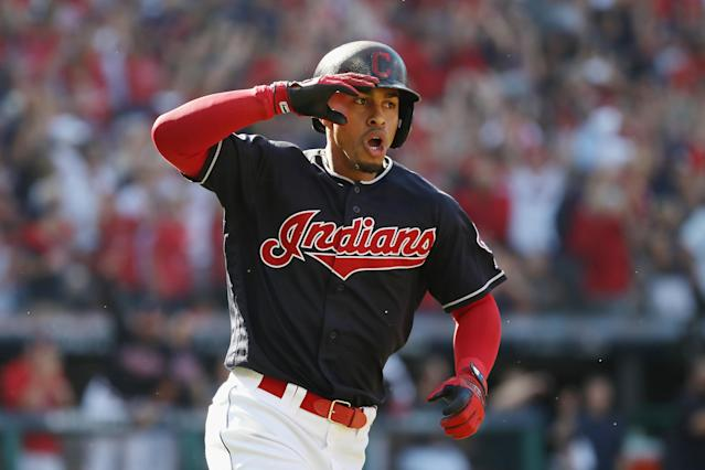 """<a class=""""link rapid-noclick-resp"""" href=""""/mlb/players/9116/"""" data-ylk=""""slk:Francisco Lindor"""">Francisco Lindor</a> will likely miss the start of the season with a calf strain. (Photo by Gregory Shamus/Getty Images)"""