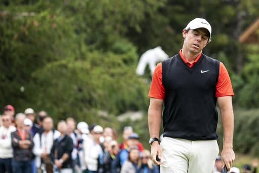 Rory McIlroy of Northern Ireland reacts after a putt during the final round the final round of the European Masters golf tournament in Crans-Montana, Switzerland, Sunday, September 1, 2019. (Alexandra Wey/Keystone via AP)