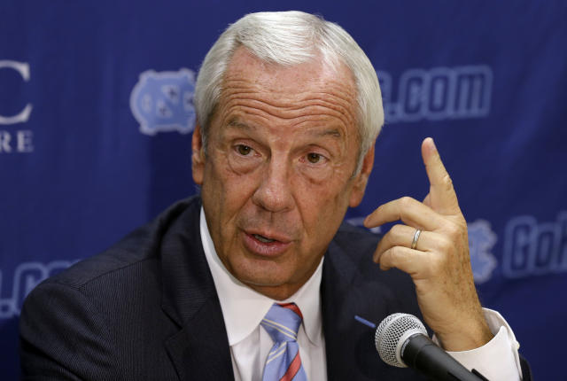 North Carolina coach Roy Williams answers questions during the team's NCAA college basketball media day in Chapel Hill, N.C., Thursday, Sept. 26, 2013. (AP Photo/Gerry Broome)